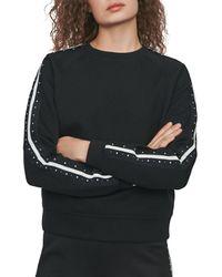 Maje Tosko Striped & Studded Sweatshirt - Black