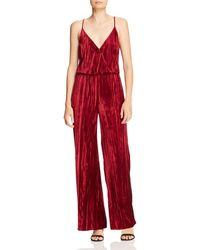 Aidan By Aidan Mattox Crushed Velvet Jumpsuit - Red