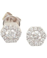 Frederic Sage - 18k White Gold Firenze Mini Single Hexagon Diamond Stud Earrings - Lyst