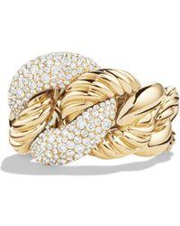 David Yurman - Belmont Curb Link Ring With Diamonds In 18k Gold - Lyst