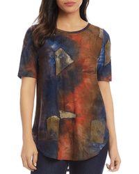 Karen Kane Printed Shirttail Tee - Blue