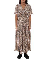 Maje Rachelle Floral Print Smocked Dress - Multicolour
