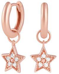 Olivia Burton Celestial Huggie Hoop Earrings In Sterling Silver Or Rose Gold - Plated Sterling Silver - Metallic