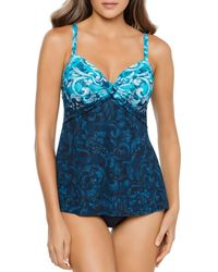 Miraclesuit Royals Myrra Printed Underwire Tankini Top - Blue