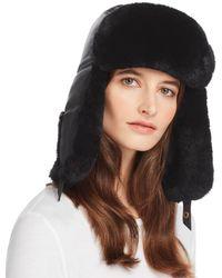 Crown Cap - Rabbit Fur-trim Leather Aviator Hat - Lyst