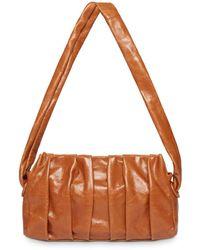 Elleme Vague Pleated Leather Clutch - Brown