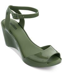 Melissa Women's Blanca Wedge Heel Sandals - Green