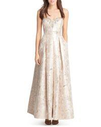 Eliza J - Embellished Strapless Gown - Lyst