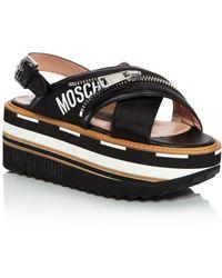 Moschino Women's Leather Slingback Platform Sandals - Black