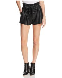 Aqua - Paperbag-waist Faux Leather Shorts - Lyst