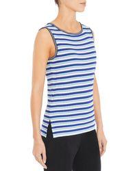 Misook Textured Striped Knit Tank Top - Blue