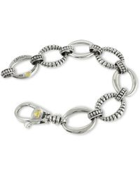 Lagos Smooth And Fluted Oval Link Bracelet - Metallic