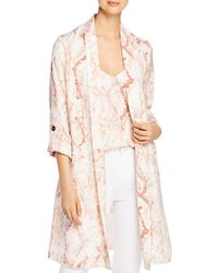 Cupcakes And Cashmere Snake Print Satin Trench Coat - Natural