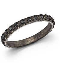 Armenta - Blackened Sterling Silver Old World Black Sapphire Stacking Ring - Lyst