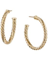 David Yurman - 18k Yellow Gold Cable Hoop Earrings - Lyst