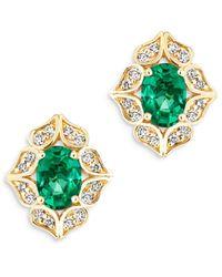 Bloomingdale's - Emerald & Diamond Art Deco Stud Earrings In 14k Yellow Gold - Lyst