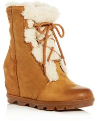 Sorel - Women's Joan Of Arctic Waterproof Shearling Hidden Wedge Cold-weather Boots - Lyst