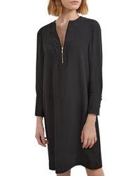 Gerard Darel Tenessy Crepe Zip Neck Dress - Black