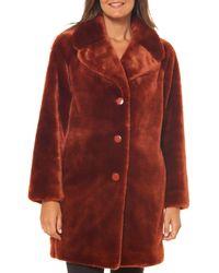 Kate Spade Faux Fur Coat - Red