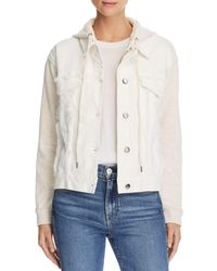 Splendid Mixed Media Hooded Jacket - White