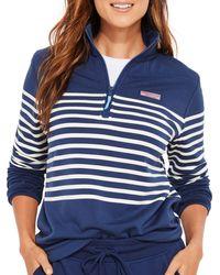 Vineyard Vines Dreamcloth Striped Zip Up Shirt - Blue