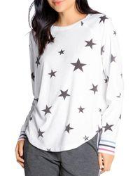 Pj Salvage Star Print Pyjama Top - White