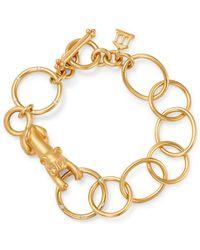 Temple St. Clair 18k Yellow Gold Diamond Lion Arno Link Bracelet - Metallic