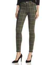 J Brand Maria High Rise Skinny Jeans In Sorrel Plaid - Green