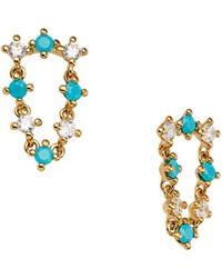 Nadri 18k Gold - Plated Crystal & Stone Drop Earrings - Metallic