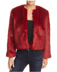 Band Of Gypsies Silver Fox Faux Fur Jacket - Red