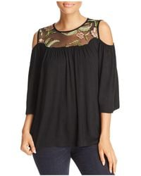Kim & Cami | Cold-shoulder Embroidered Top | Lyst