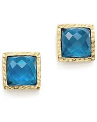 Bloomingdale's - London Blue Topaz Geometric Stud Earrings In 14k Yellow Gold - Lyst