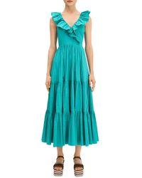 Kate Spade Ruffled - Collar Midi Dress - Green