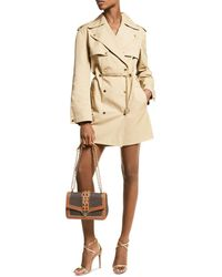 MICHAEL Michael Kors Snap Trench Coat With Chain Belt - Natural
