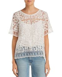 French Connection - Arta Lace & Openwork Top - Lyst