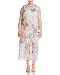 Vince Camuto Signature - Diffused Blooms Midi Dress - Lyst
