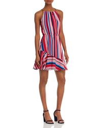 Aqua - Flounce-hem Striped Dress - Lyst