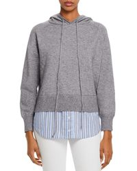 Aqua Layered - Look Hooded Sweater - Gray