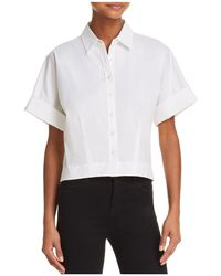 Theory - Cropped Button-down Shirt - Lyst