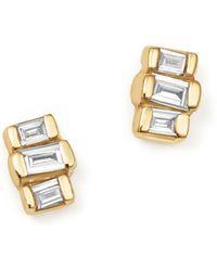Zoe Chicco - 14k Yellow Gold Baguette Diamond Stud Earrings - Lyst
