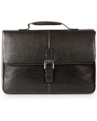 Boconi Tyler Leather Brokers Bag - Black