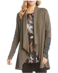 Karen Kane - Faux Leather Patch Cardigan - Lyst
