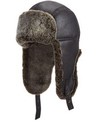 34629a28cc6 Lyst - Crown Cap Quilted Nylon Aviator Hat With Rabbit Fur in Black ...