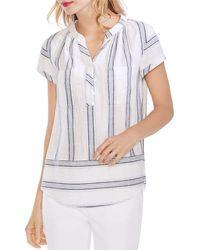 Vince Camuto Roll Sleeve Laguna Stripe Two-pocket Henley - White