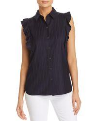 T Tahari - Meradeth Striped Ruffle-trim Shirt - Lyst