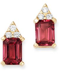 Bloomingdale's Pink Tourmaline & Diamond Stud Earrings In 14k Yellow Gold