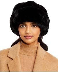Surell Faux Fur Snowball Cuff Hat - Black