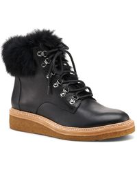 Botkier Women's Winter Leather Lace Up Boots - Black