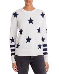 Aqua Cashmere Star Print Cashmere Jumper - Blue