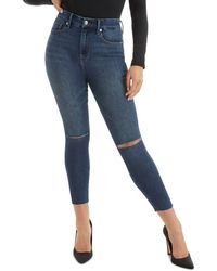 GOOD AMERICAN Good Waist Cropped Raw Edge Jeans In Blue 676